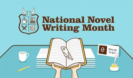 Animasjonstegning av åpen bok med påskriften National Novel Writing Month